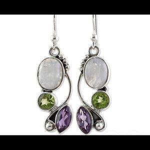 Jewelry - Sterling multi gemstone drop earrings